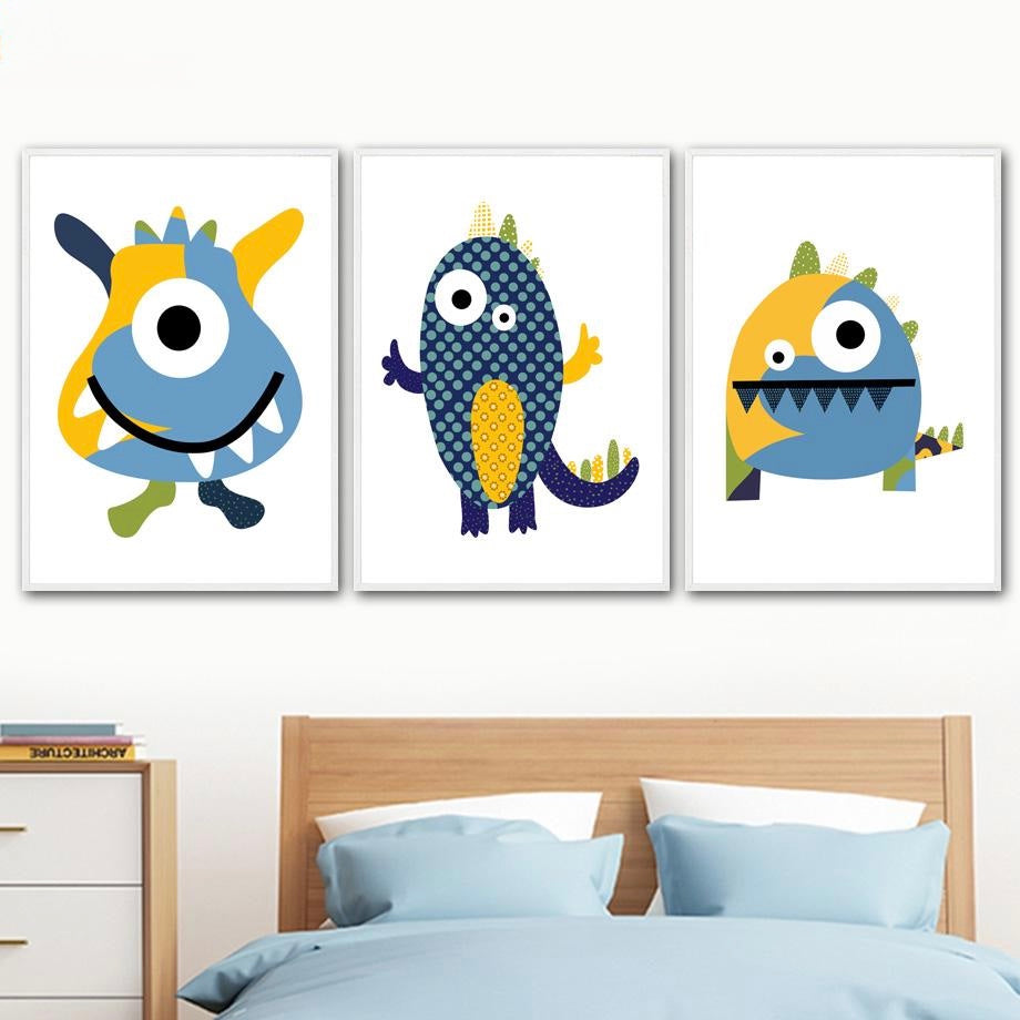 Big Eye Monsters Canvas Painting  Nordic Wall Art - Just Kidding Store
