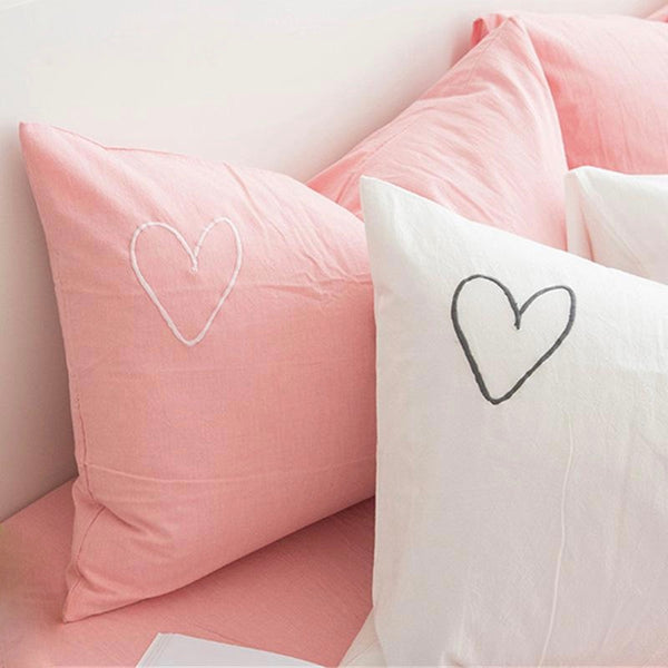 Embroidered Love Heart Pillowcase - Pink-White-Gray