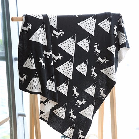 Reindeer Cotton Monochrome Blanket - Just Kidding Store