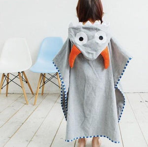 Beach Hooded Towel -  Hooded  Poncho - Gray Bull Ox Horns