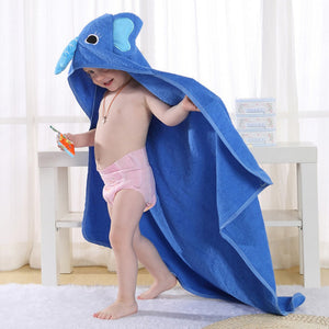 Cotton Hooded Bath Towel - Blue Elephant - Just Kidding