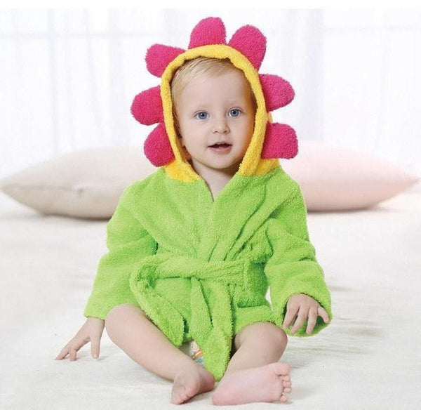 Flower Baby Hooded Bathrobe - Terry Towel - Just Kidding