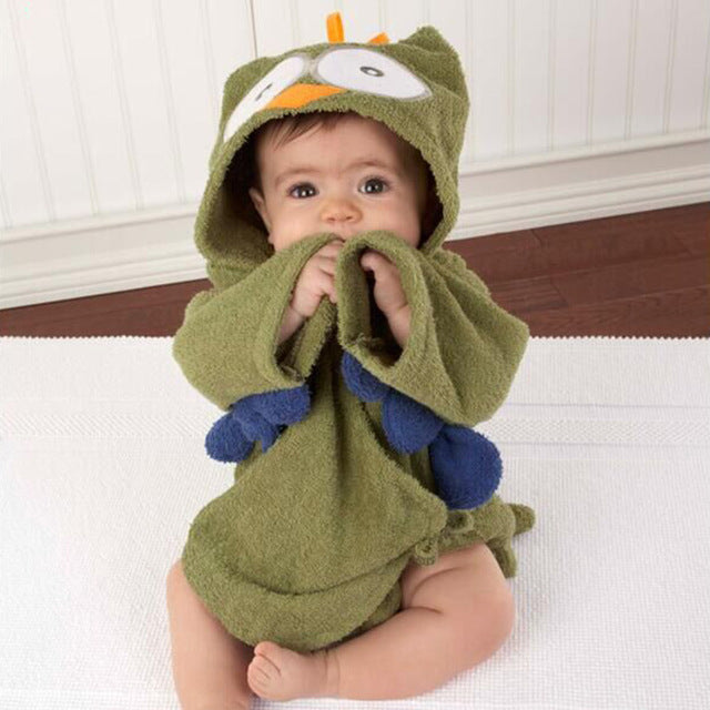 Green Owl baby bathrobe terry towel - Just Kidding