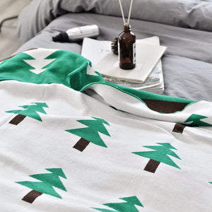 Pine Tree Cotton Baby and Kids Knitted Blanket - Just Kidding Store