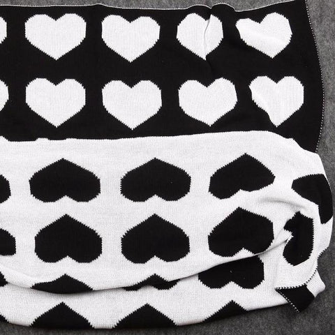 Black Hearts Cotton Knitted Kids Blanket - Just Kidding Store