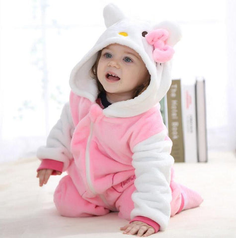 Hooded Flannel Romper Jumpsuit- Hello Kitty - Just Kidding Store