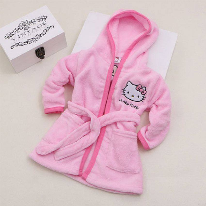 aa9efdc7b Hello Kitty Soft Coral Fleece Bathrobe Night Gown - Just Kidding Store