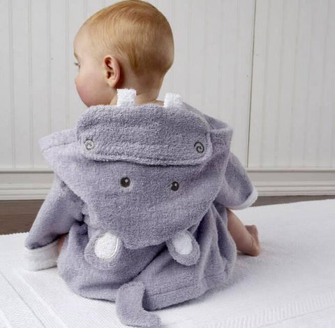 Baby Hooded Bathrobe - Terry Towel - Cyan Hippo - Just Kidding