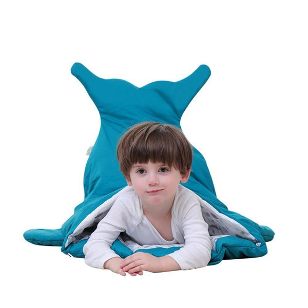 Children Sleeping Bag - Kids Cotton Sleep Sack - Comfy Shark Indigo
