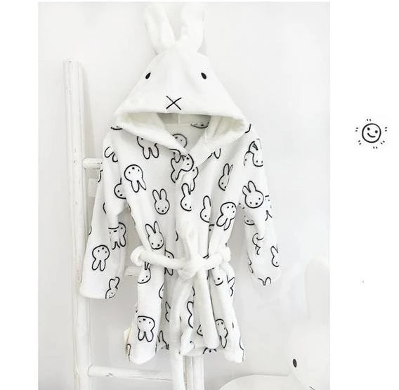 Ultra Soft Velvet Bathrobe - Kawaii Bunny Nightgown