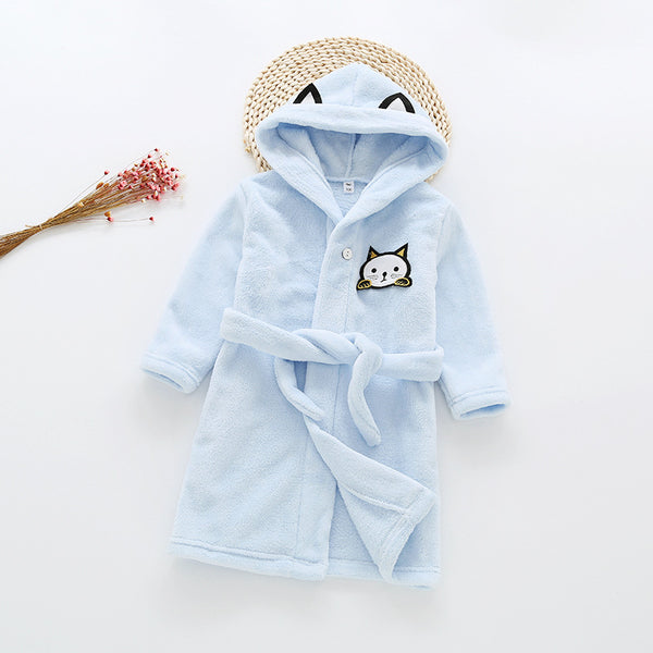 Flannel Bathrobe Night Gown - Kawaii Kitty Blue - Just Kidding Store