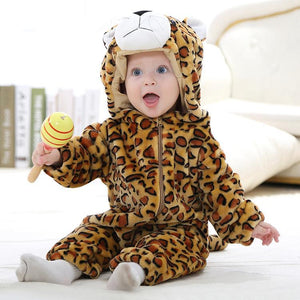 Hooded Flannel Romper Jumpsuit- Leopard