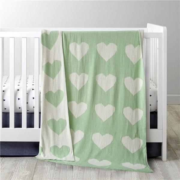 Cotton Knitted Baby Blanket - Mint Hearts - Just Kidding Store