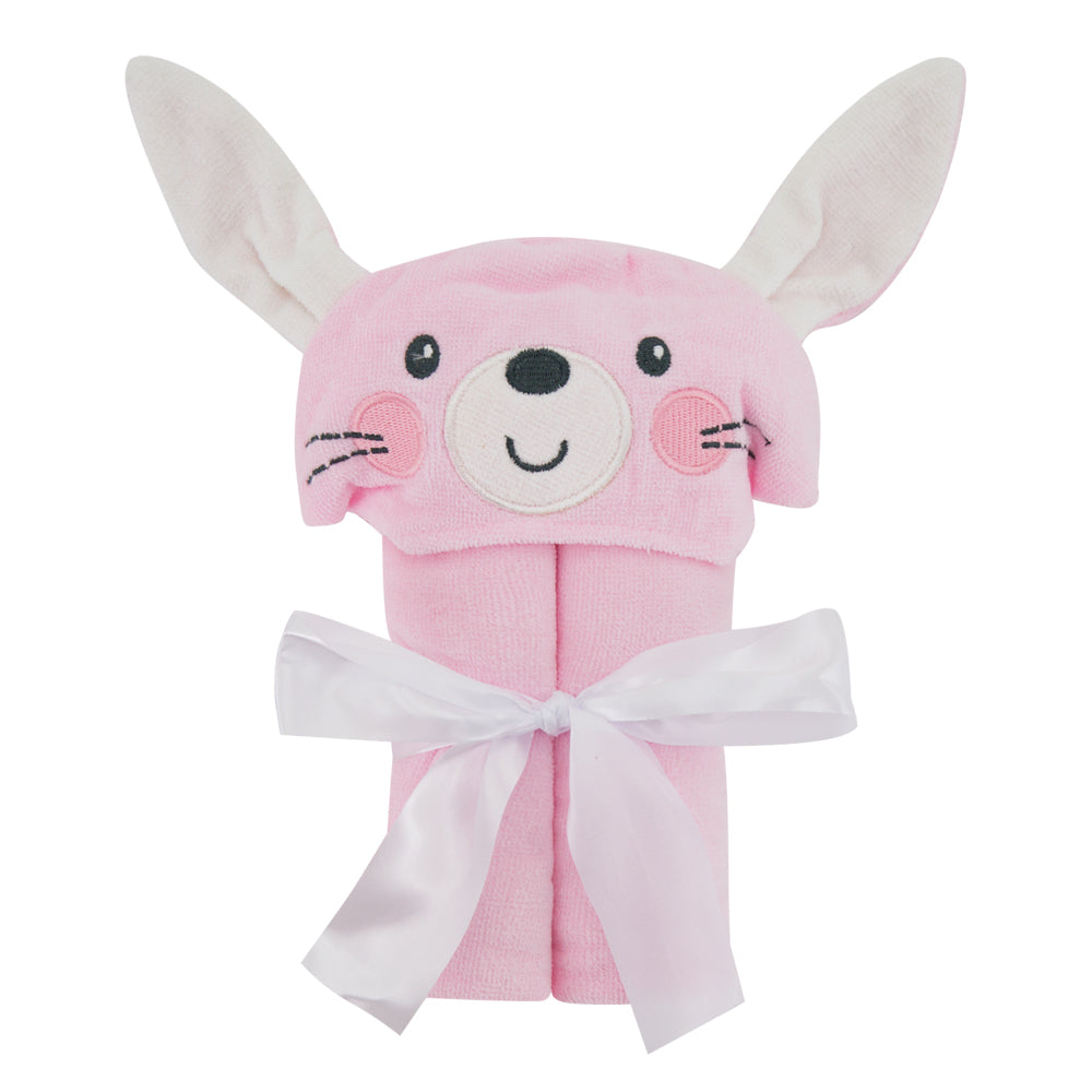 Animal Design Cotton Terry Hooded Towel - Pink Rabbit - Just Kidding
