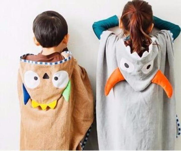 Beach Hooded Towel -  Hooded  Poncho - Brown Owl - Just Kidding
