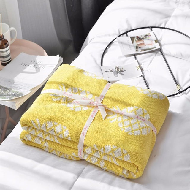 Yellow White Pineapple Cotton Knitted Blanket - Just Kidding Store