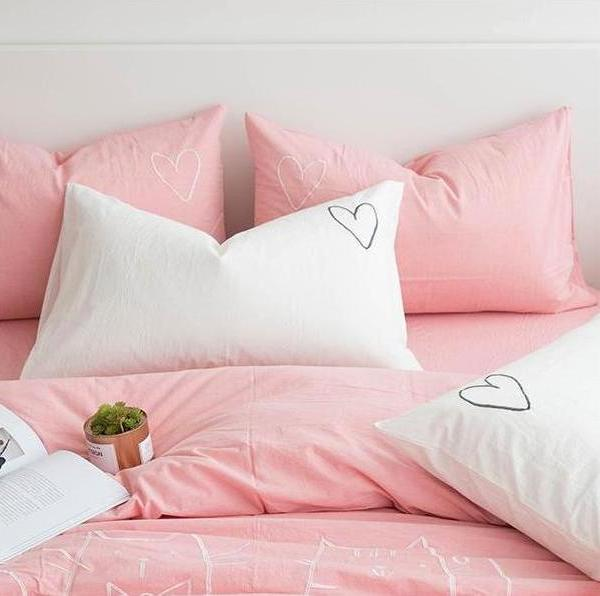 Embroidered Love Heart Pillowcase  - Just Kidding Store