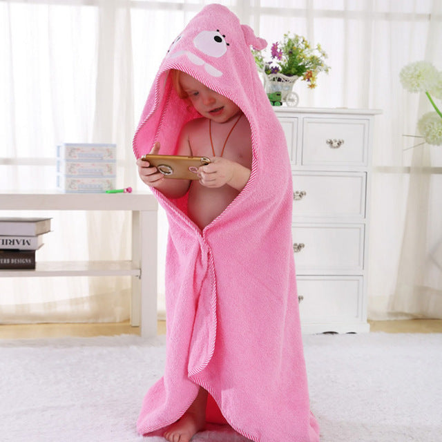 Cotton Hooded Bath Towel - Pink Monster - Just Kidding
