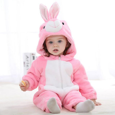 Hooded Flannel Romper Jumpsuit - Pink Rabbit - Just Kidding Store