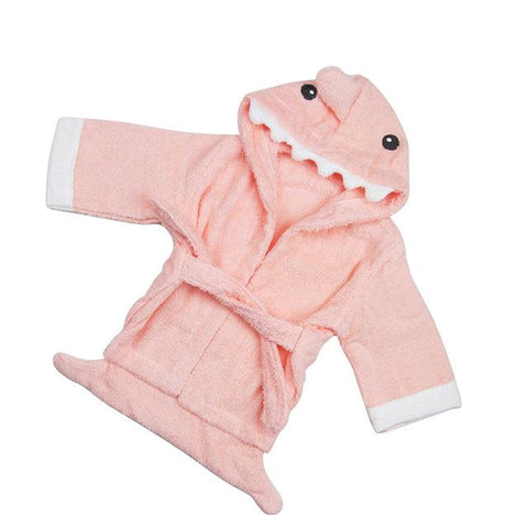 Hooded Kids Bathrobe - Pink Shark Cotton Towel - Just Kidding Store