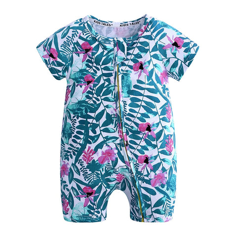 Pink Lilies Baby Toddlers Kids Summer Romper - Just Kidding Store