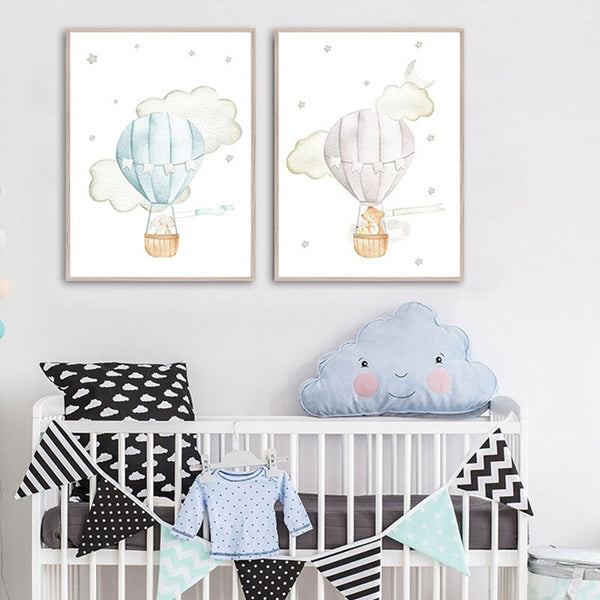 Hot Air  Balloon, Airplane, Car Canvas Wall Art Nursery Prints - Just Kidding Store