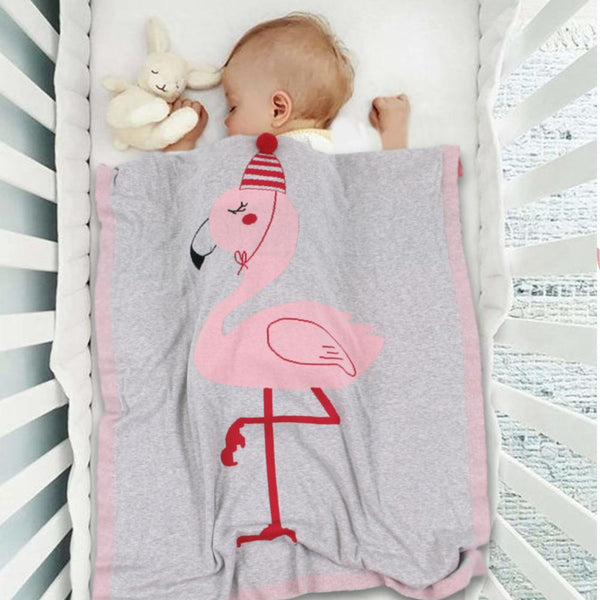 Flamingo Knitted Kids Blanket - Gray, Pink, White - Just Kidding Store