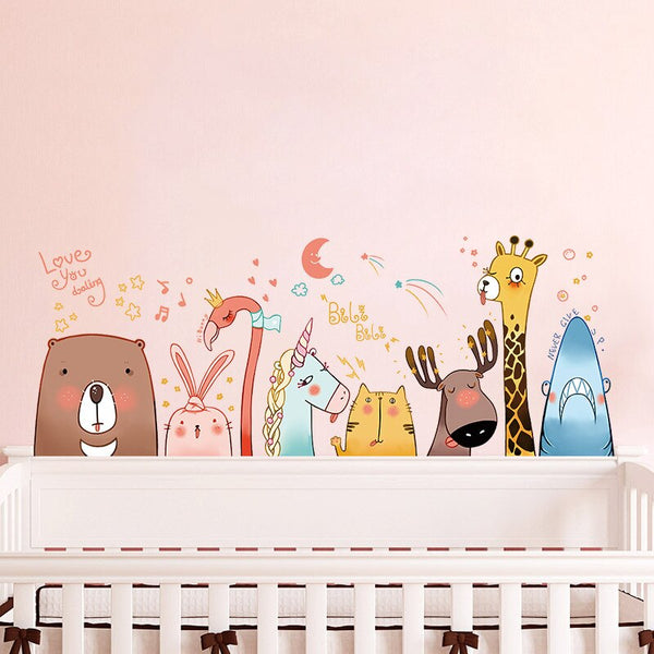 Animal Friends Wall Sticker - Kids Zoo Wall Decal - Just Kidding Store