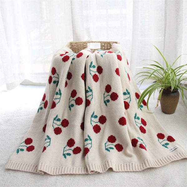 Cherry Cotton Blanket Baby Kids Two Layers Blanket - Just Kidding Store