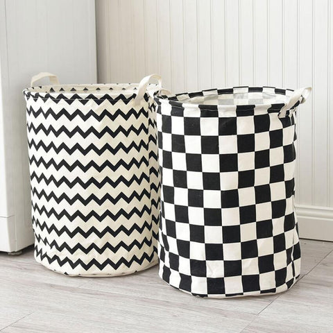 Monochrome Toy Storage Hamper Bag Chevron, Check - Just Kidding Store