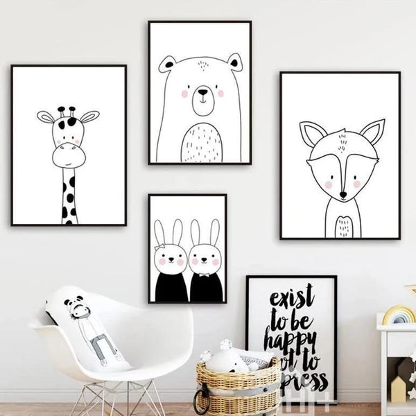 Nordic Canvas Art - Rabbit, Bear, Giraffe, Fox - Just Kidding Store