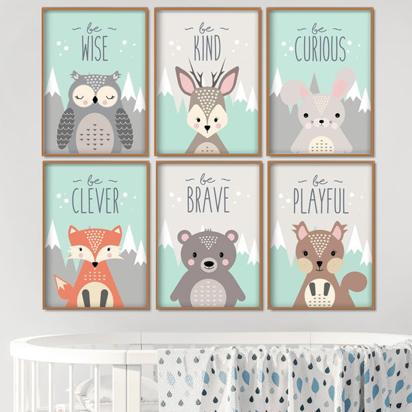 Woodland Animals Wall Art - Rabbit Bear Fox Deer Owl Squirrel - Just Kidding Store