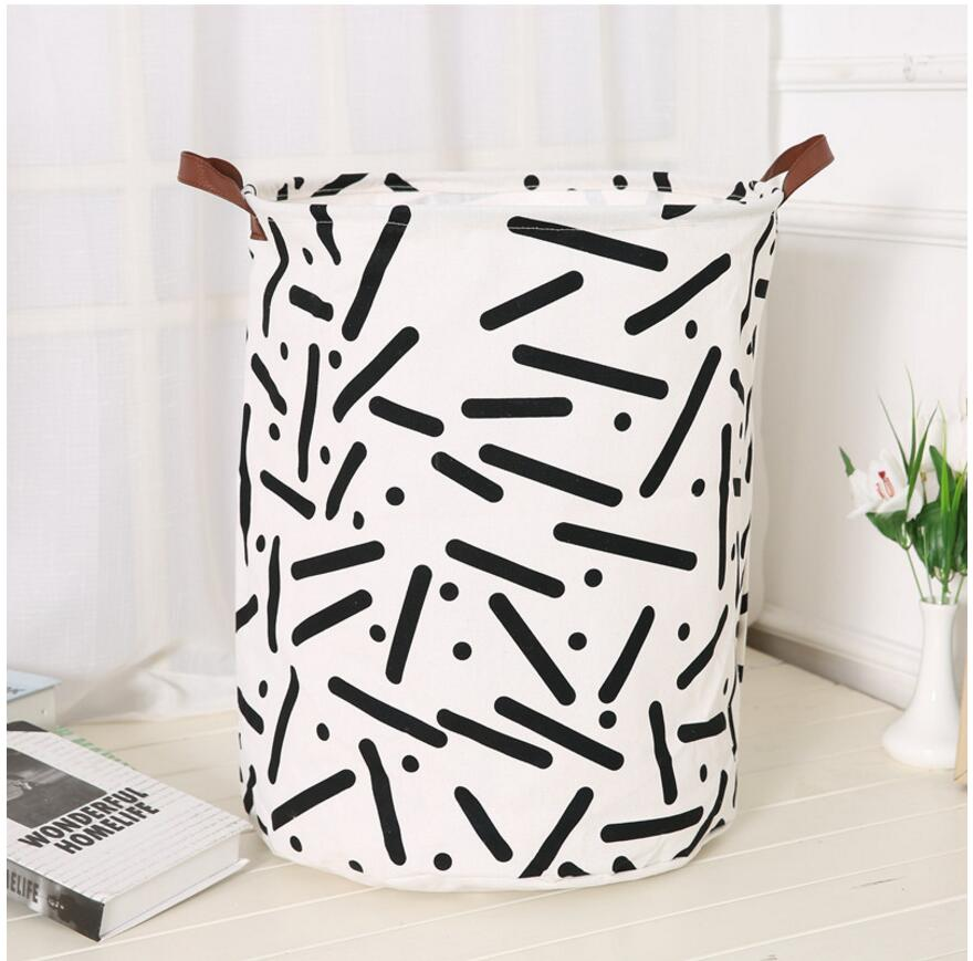 Monochrome Large Toy Storage Hamper Bag - Laundry Basket - Just Kidding Store