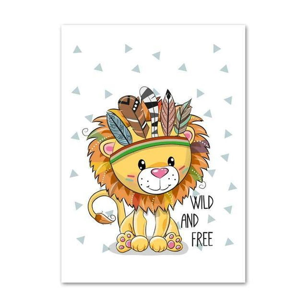 Wild And Free Canvas Wall Art - Tribal Lion Bear Owl Fox Raccoon - Just Kidding Store