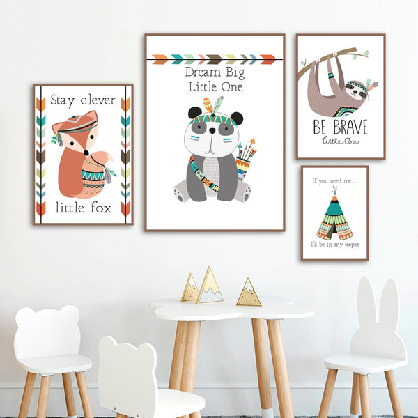 Tribal Animals Canvas Art - Panda Lion Fox Deer Koala - Just Kidding Store