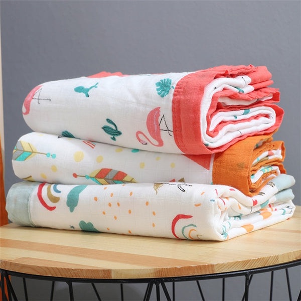 4 Layers Bamboo Fiber Blanket Baby Kids Muslin Wrap - Just Kidding Store