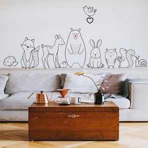 Forest Animals Kids Room Nursery Scandi Wall Sticker - Just Kidding Store