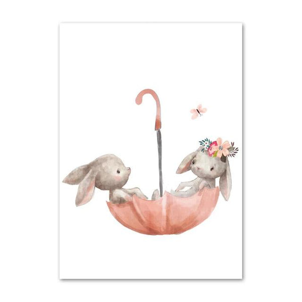 Watercolor Canvas Kids Art Floating Rabbits , Fox - Just Kidding Store