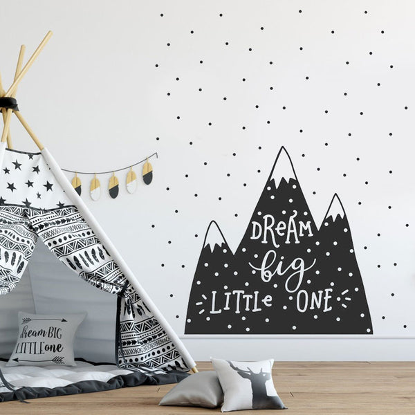 Dream Big Little One Nordic Style Mountain Wall Decal - Just Kidding Store