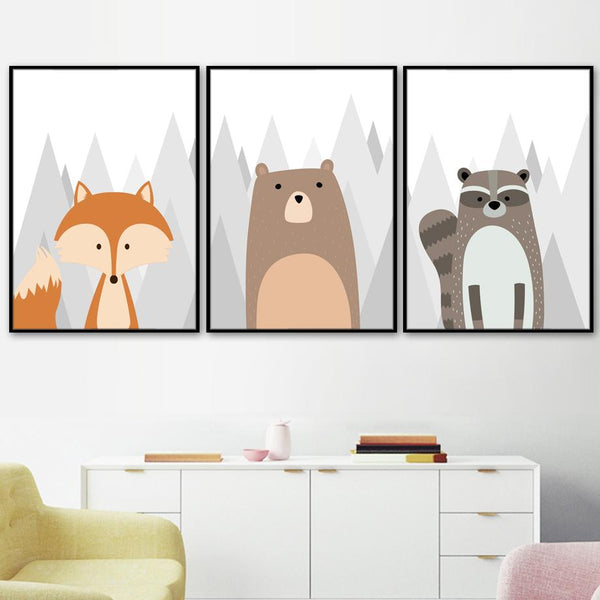 Woodland Animals Canvas Art - Bear, Owl, Fox, Raccoon Wall Posters - Just Kidding Store