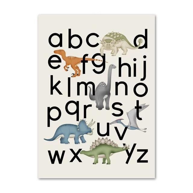 Dinosaur Letters And Numbers Canvas Wall Art