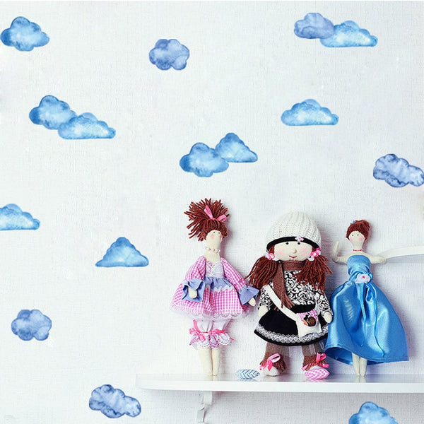 Watercolor Clouds Wall Stickers Kids Wall Decals - Just Kidding Store