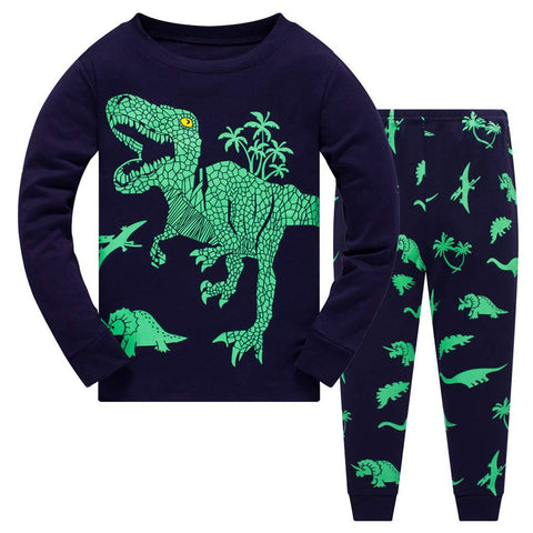 Green Dinosaur Pajamas Set Toddler Kids Sleepwear - Just Kidding Store