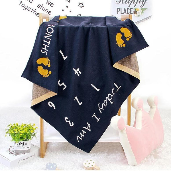 Elephants Monthly Milestone Cotton Blanket - Navy, White - Just Kidding Store