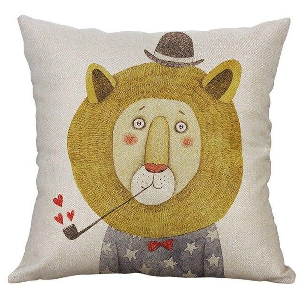 Kids Animal Cushion Cover - Panda, Lion, Bear - Just Kidding Store