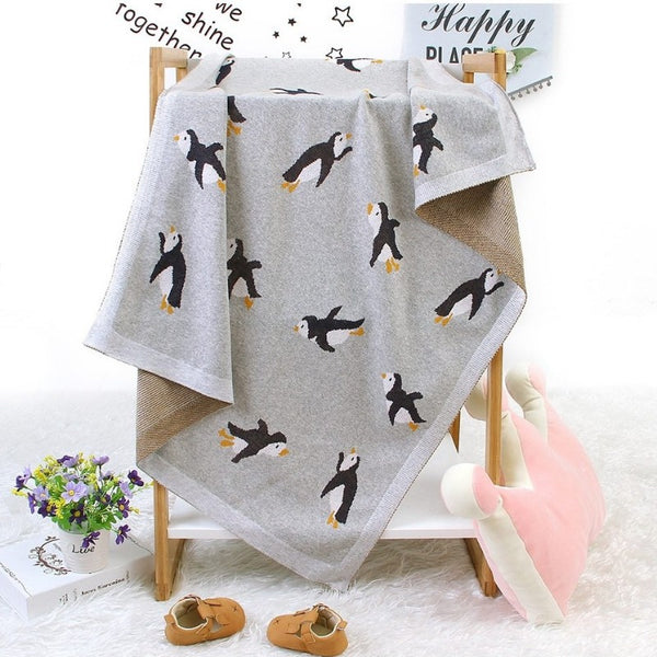 Little Penguin Cotton Knitted Blanket