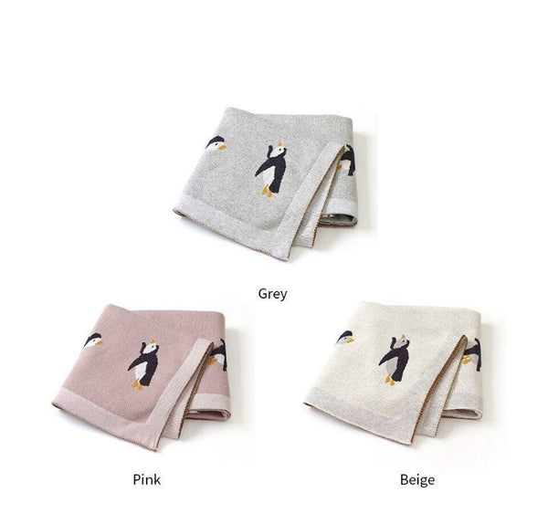 Little Penguin Baby Kids Cotton Knitted Blanket - Just Kidding Store