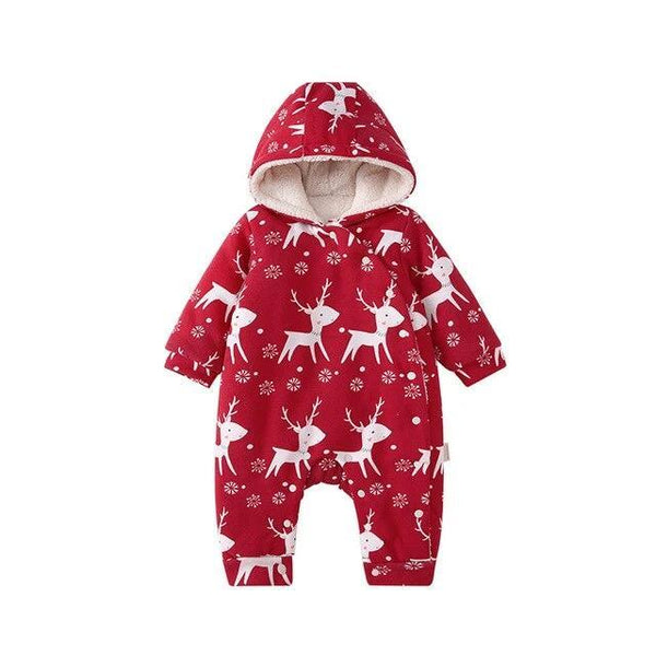 Red Winter Baby Kids Sherpa Thick Romper - Just Kidding Store