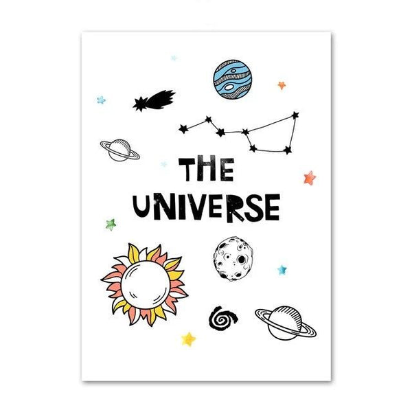 The Universe Canvas Wall Art Kids Space Posters - Just Kidding Store