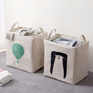 Cotton Linen Square Basket Foldable Laundry Hamper - Just Kidding Store